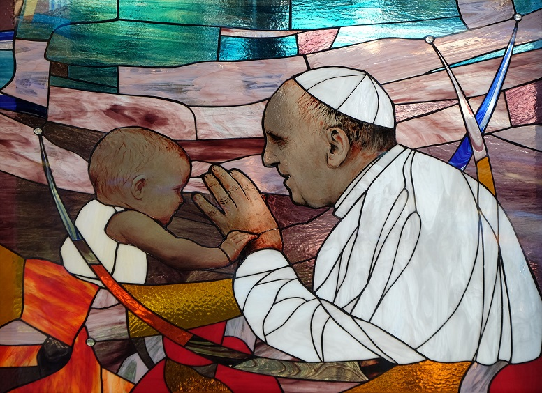 Pope Francis, stained glass window in St Paul's Cathedral in Tirana, Albania